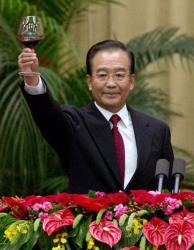 Chinese Premier Wen Jiabao makes a toast after delivering in Beijing last month.