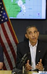 President Barack Obama speaks during a visit to the National Response Coordination Center at the Federal Emergency Management Agency hHeadquarters in Washington, on Sunday, Oct. 28, 2012.