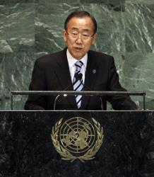United Nations Secretary General Ban Ki-moon addresses the 67th session of the General Assembly, Tuesday, Sept. 25, 2012 at UN headquarters.