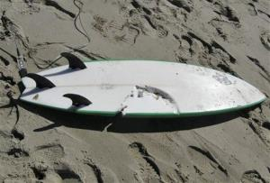 A bite wound is visible on the surfboard of the victim of last week's deadly shark attack.