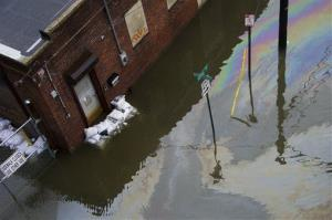 A street and business are flooded as a result of Hurricane Sandy in Hoboken, NJ.
