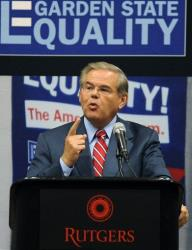 Senator Bob Menendez speaks at a statewide town meeting.