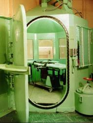 This  January 1996 file photo provided by the California Department of Corrections shows the entrance to the execution chamber and the lethal injection table at California's San Quentin State Prison.