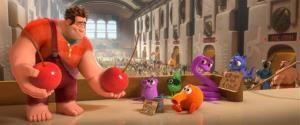 FILE - This film image released by Disney shows Ralph, left, voiced by John C. Reilly in a scene from Wreck-It Ralph.