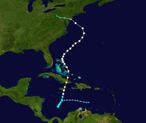 Superstorm Sandy's path, as seen on Wikipedia.