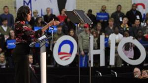 First Lady Michelle Obama speaks at a campaign rally, Saturday, Nov. 3, 2012, at Miami (Ohio) Unversity in Oxford, Ohio.