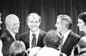 In this Oct. 13, 1983 photo, presidential hopefuls, Sen. John Glenn, left, former Sen. George McGovern, center, and former VP Walter Mondale, right, pause for photographers at Harvard University.