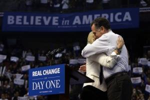 Mitt Romney hugs Ann Romney after she introduced him at a New Hampshire campaign rally at Verizon Wireless Arena in Manchester, N.H.