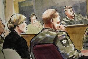 US Army Staff Sgt. Robert Bales, seated at front-right, listens Monday, Nov. 5, 2012, during a preliminary hearing in a military courtroom at Joint Base Lewis McChord in Washington state.