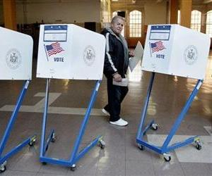 Wilfredo Machavelo, 65, a retired chef originally from Puerto Rico, votes in a school on New York's Upper East Side, Nov. 6, 2012.