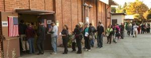 Voters wait in line Tuesday, Nov. 6, 2012 in the Sun Valley section of Los Angeles.