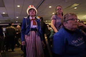 Romney supporters in Billings, Montana watch election results in.