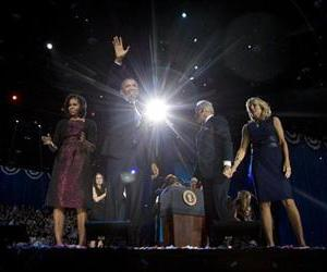 President Barack Obama with first last Michelle Obama, Vice President Joe Biden and Jill Biden celebrate on stage at the election night party in Chicago.