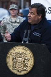 New Jersey Governor Chris Christie speaks during a press conference on Washington Street, Sunday, Nov. 4, 2012, in Hoboken, New Jersey.