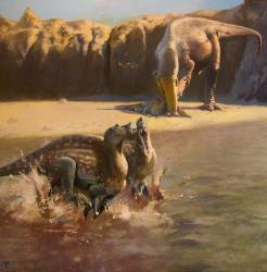 An artist's rendering of a Sauroniops eating a young Spinosaurus near two other Spinosaurus.