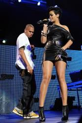 Singers Rihanna and Chris Brown perform at the Z100 Jingle Ball 2008 at Madison Square Garden on Friday, Dec. 12, 2008 in New York.