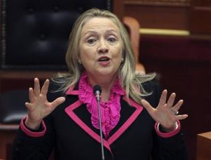 In this Nov. 1, 2012, file photo, Secretary of State Hillary Rodham Clinton makes her speech at the Albanian Parliament in capital Tirana.