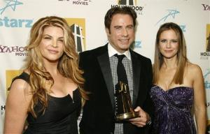 John Travolta, center, poses backstage with his wife, Kelly Preston, right, and Kirstie Alley at the Hollywood Film Festival 11th Annual Hollywood Awards in Beverly Hills, Calif. on Oct. 22, 2007.