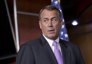 John Boehner, R-Ohio, meets with reporters as Congress prepares to shut down until after the elections in November, on Capitol Hill in Washington, Friday, Sept. 21, 2012.