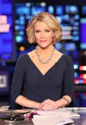 In this March 6 photo provided by Fox News, anchor Megyn Kelly is seated at the anchor desk.
