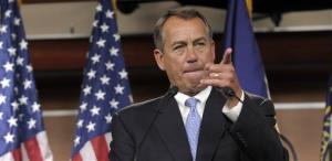 House Speaker John Boehner of Ohio calls on a reporter during a news conference on Capitol Hill Friday.