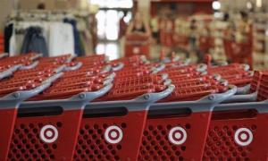 Rows of carts await customers at a Target store in Chicago.