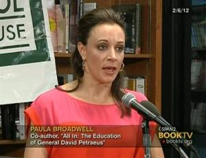 In the frame grab from C-SPAN Book TV video taken Feb. 6, 2012, author Paula Broadwell speaks to an audience at the Politics and Prose bookstore in Washington.