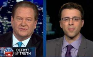 Ed Schultz interviews Ezra Klein in this screenshot from 'The Ed Show.'