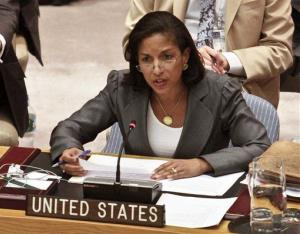US United Nations Ambassador Susan Rice speaks at the United Nations.