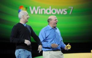 Microsoft CEO Steve Ballmer, right, and Windows president Steven Sinofsky announce the anticipated release of Windows 7 to PC makers on Wednesday, July 22, 2009, in Atlanta.