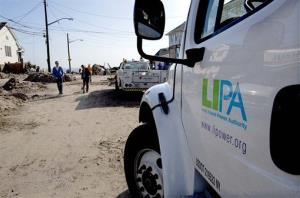 A Long Island Power Authority truck is seen in the Belle Harbor neighborhood of Queens Monday.