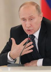 Russian President Vladimir Putin speaks during a meeting with members of the Presidential Human Rights Council in the Kremlin in Moscow, Russia, Monday, Nov. 12, 2012.