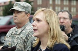 Emma Scanlan, right, the civilian defense attorney for Army Staff Sgt. Robert Bales, talks to reporters, Tuesday Nov. 13, 2012.