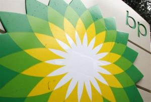 In this file photo made Oct. 25, 2007, the BP logo is seen at a gas station in Washington.