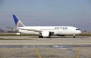 A United Airlines 787 Dreamliner arrives at O'Hare international Airport in Chicago, Sunday, Nov. 4, 2012.