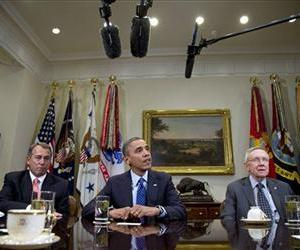 Barack Obama, John Boehner, and Harry Reid meet in the Roosevelt Room of the White House, Nov. 16, 2012, for a bipartisan, bicameral leadership of Congress to discuss the deficit and economy.