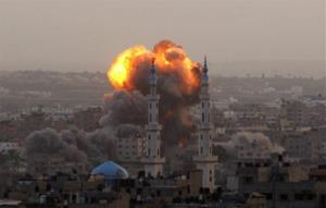 Smoke rises during an explosion from an Israeli forces strike in Gaza City, Saturday, Nov. 17, 2012.