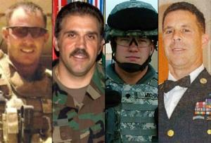 From left: Sgt. Maj. Gary Stouffer, 37; Sgt. Maj. Lawrence Boivin, 47; Army Sgt. Joshua Michael, 34, and Sgt. Maj. William Lubbers, 43, four veterans killed in the train crash.