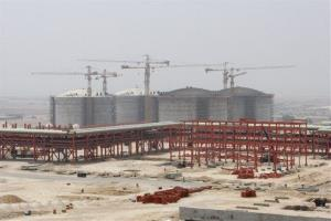 The South Pars gas field facility under construction Gulf, in Assalouyeh, Iran.