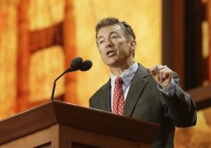 Sen. Rand Paul, R-Ky., addresses the Republican National Convention in Tampa, Fla., on Wednesday, Aug. 29, 2012.