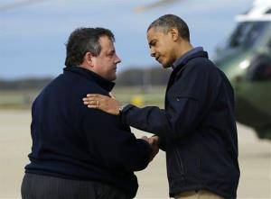 President Obama is greeted by New Jersey Gov. Chris Christie upon his arrival at Atlantic City International Airport on Oct. 31.