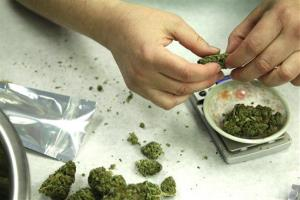 Marijuana is weighed and packaged for sale at the Northwest Patient Resource Center medical marijuana dispensary in Seattle.