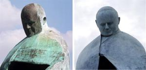 This combo picture shows sculptor Oliviero Rainaldi's statue of Pope John Paul II before its restoration, left, on Sept. 23, 2011, and at its inauguration after the restoration, in Rome, Nov. 19, 2012.