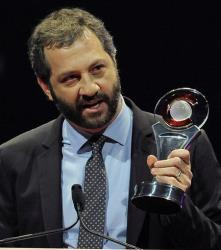 Writer-director Judd Apatow accepts the Award of Excellence in Filmmaking award during the CinemaCon Big Screen Achievement Awards, Thursday, April 26, 2012, in Las Vegas.