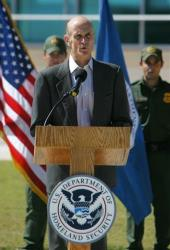2008 file photo: Then Department of Homeland Security Secretary Michael Chertoff speaks at a press conference.