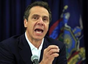 In this Nov. 8, 2012 file photo, New York Gov. Andrew Cuomo talks about storm damage at a news conference in New York.