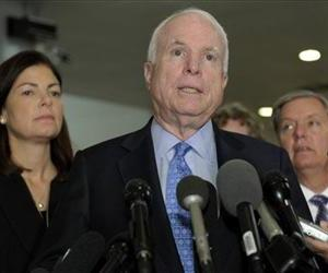 John McCain, Lindsey Graham, and Kelly Ayotte are seen following their meeting with Susan Rice today.
