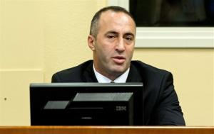 Former Kosovo Prime Minister Ramush Haradinaj awaits his verdict at the courtroom of the Yugoslav war crimes tribunal in The Hague, Netherlands, Thursday, Nov. 29, 2012.