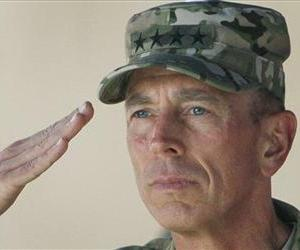 In this July 18, 2011 file photo, Gen. David Petraeus salutes during a changing of command ceremony from Petraeus to Gen. John Allen in Kabul, Afghanistan