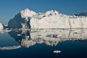 This May 30, 2012 image shows an iceberg in or just outside the Ilulissat fjord, that likely calved from Jakobshavn Isbrae, the fastest glacier in west Greenland.